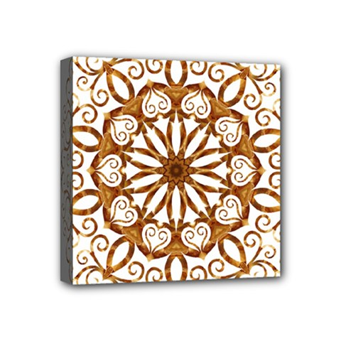 Golden Filigree Flake On White Mini Canvas 4  X 4