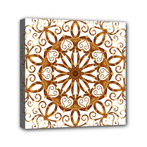 Golden Filigree Flake On White Mini Canvas 6  x 6