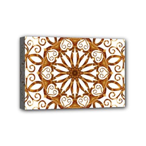 Golden Filigree Flake On White Mini Canvas 6  X 4