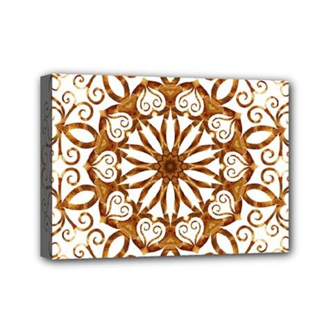 Golden Filigree Flake On White Mini Canvas 7  X 5