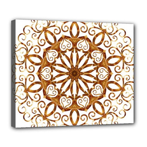 Golden Filigree Flake On White Deluxe Canvas 24  x 20