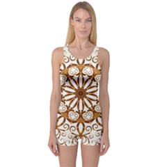Golden Filigree Flake On White One Piece Boyleg Swimsuit