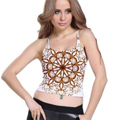 Golden Filigree Flake On White Spaghetti Strap Bra Top