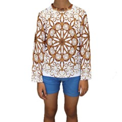 Golden Filigree Flake On White Kids  Long Sleeve Swimwear
