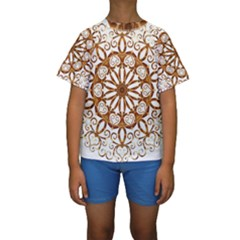 Golden Filigree Flake On White Kids  Short Sleeve Swimwear
