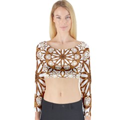 Golden Filigree Flake On White Long Sleeve Crop Top