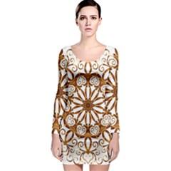 Golden Filigree Flake On White Long Sleeve Bodycon Dress