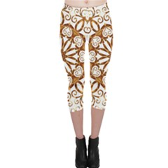 Golden Filigree Flake On White Capri Leggings