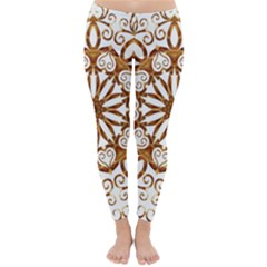 Golden Filigree Flake On White Classic Winter Leggings