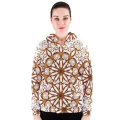 Golden Filigree Flake On White Women s Zipper Hoodie