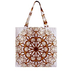 Golden Filigree Flake On White Zipper Grocery Tote Bag