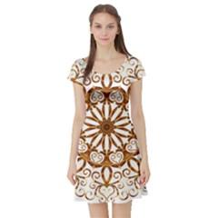 Golden Filigree Flake On White Short Sleeve Skater Dress