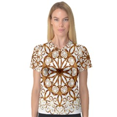 Golden Filigree Flake On White Women s V-Neck Sport Mesh Tee