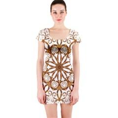 Golden Filigree Flake On White Short Sleeve Bodycon Dress