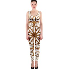 Golden Filigree Flake On White Onepiece Catsuit