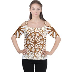 Golden Filigree Flake On White Women s Cutout Shoulder Tee