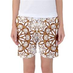 Golden Filigree Flake On White Women s Basketball Shorts