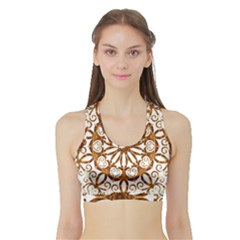 Golden Filigree Flake On White Sports Bra with Border
