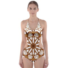 Golden Filigree Flake On White Cut-Out One Piece Swimsuit