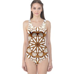 Golden Filigree Flake On White One Piece Swimsuit