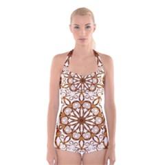Golden Filigree Flake On White Boyleg Halter Swimsuit
