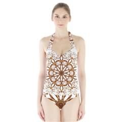 Golden Filigree Flake On White Halter Swimsuit