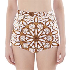 Golden Filigree Flake On White High Waisted Bikini Bottoms