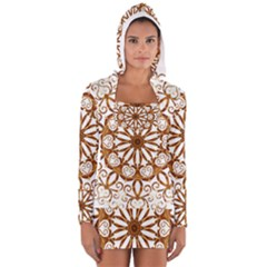 Golden Filigree Flake On White Women s Long Sleeve Hooded T Shirt