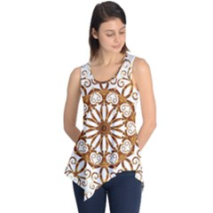 Golden Filigree Flake On White Sleeveless Tunic