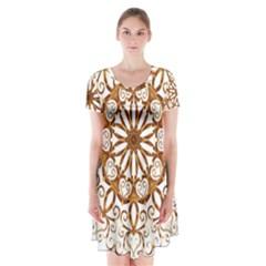 Golden Filigree Flake On White Short Sleeve V Neck Flare Dress