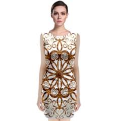 Golden Filigree Flake On White Classic Sleeveless Midi Dress