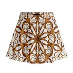 Golden Filigree Flake On White Mini Flare Skirt