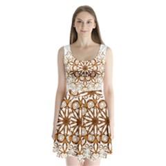 Golden Filigree Flake On White Split Back Mini Dress