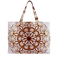 Golden Filigree Flake On White Medium Zipper Tote Bag