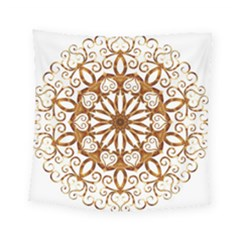 Golden Filigree Flake On White Square Tapestry (small)