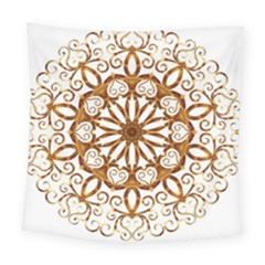 Golden Filigree Flake On White Square Tapestry (large)