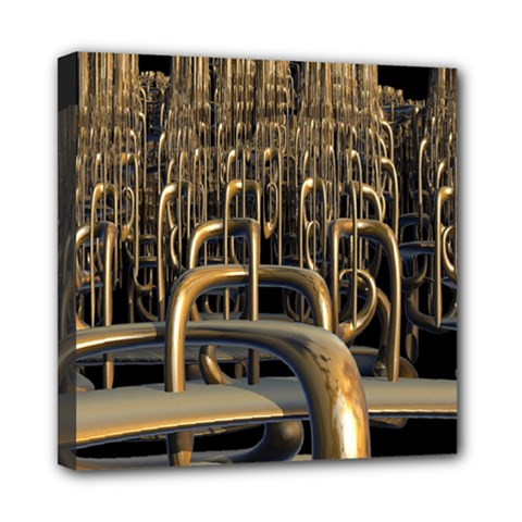 Fractal Image Of Copper Pipes Mini Canvas 8  x 8
