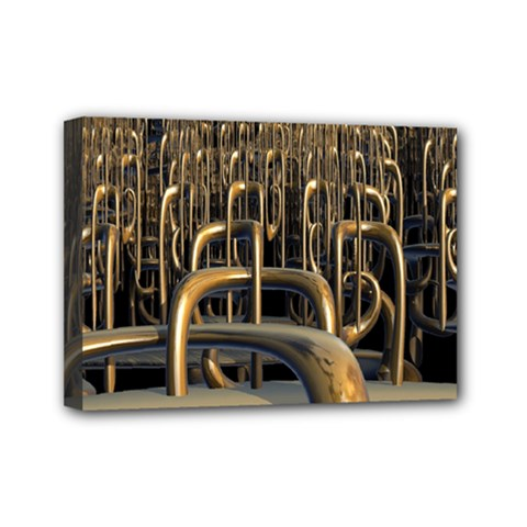 Fractal Image Of Copper Pipes Mini Canvas 7  X 5