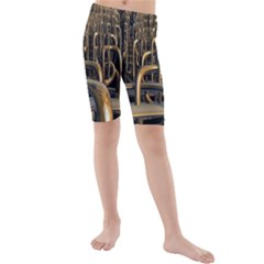 Fractal Image Of Copper Pipes Kids  Mid Length Swim Shorts