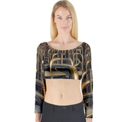 Fractal Image Of Copper Pipes Long Sleeve Crop Top