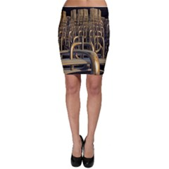 Fractal Image Of Copper Pipes Bodycon Skirt