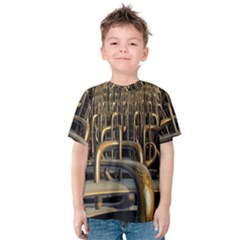 Fractal Image Of Copper Pipes Kids  Cotton Tee
