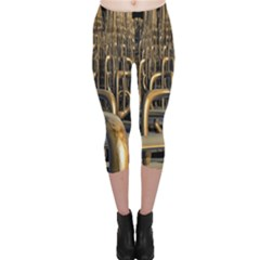 Fractal Image Of Copper Pipes Capri Leggings