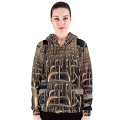Fractal Image Of Copper Pipes Women s Zipper Hoodie