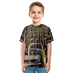 Fractal Image Of Copper Pipes Kids  Sport Mesh Tee