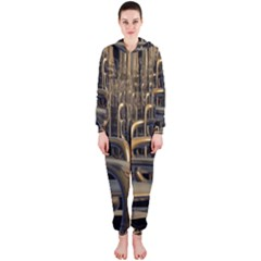 Fractal Image Of Copper Pipes Hooded Jumpsuit (Ladies)