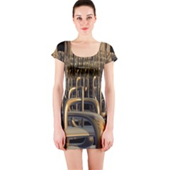 Fractal Image Of Copper Pipes Short Sleeve Bodycon Dress