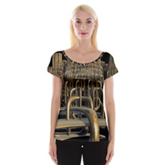 Fractal Image Of Copper Pipes Women s Cap Sleeve Top
