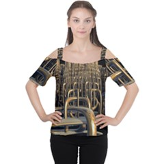 Fractal Image Of Copper Pipes Women s Cutout Shoulder Tee