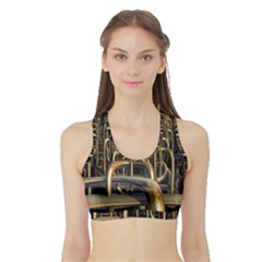 Fractal Image Of Copper Pipes Sports Bra With Border